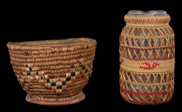 "23: Salish Basketry Cup 5"" D. 3"" H. Fair Condition and"
