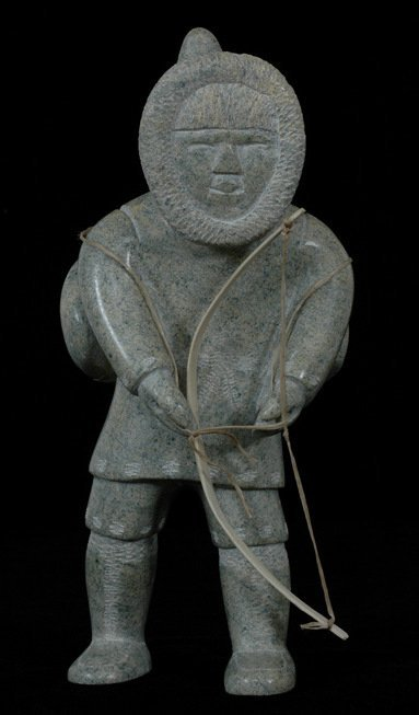 24: Inuit Sculpture of a Hunter with Bow by Anon - Cape