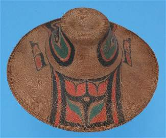 170     19TH C. Haida Spruce Root Hat with Painted Desi