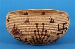 200     Superb Washoe Coiled Basket with Rolling Log De