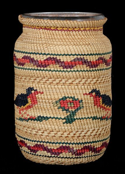 3: Nuu-chah-nulth Basketry Covered Jar with Two Robbins