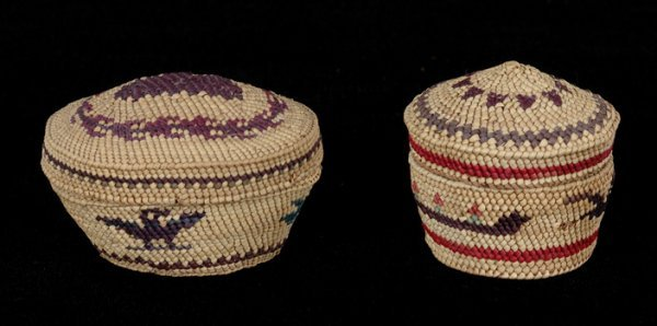 5: Two Miniature Nuu-chah-nulth Dome Top Baskets Finely