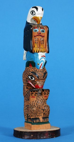 6: Tlingit Totem Carved with Eagle, Salmon and Bear by
