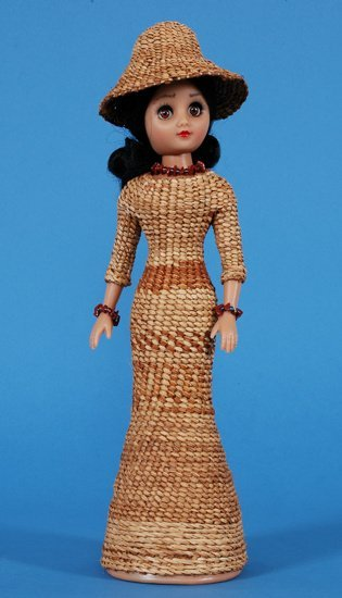 7: Doll with Haida Twined Cedar Dress and Hat, Woven Ye