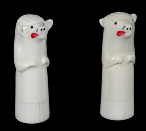 10: Inuit Carved Bone Salt and Pepper Shakers, Polar Be