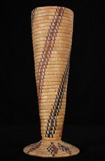 """11: Large Salish Basketry Vase Fully Imbricated 18"""" H."""