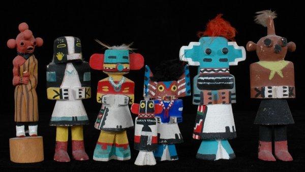 "12: Seven Miniature Kachinas 6"" H. - 2 1/2"" H. Fine Con"