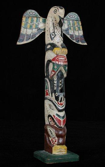 14: Northwest Coast Totem Carved with Eagle, Killer Wha