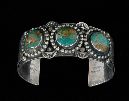 """19: Navajo Silver and Turquoise Bracelet 6 1/2"""" L. 1"""" W"""