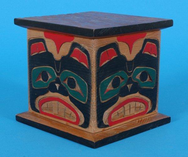 21: Kwakwaka'wakw Bent Wood Box Carved with Beavers by