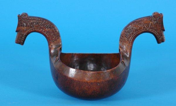 399: Early Scandinavian Burl Double Handled Bowl ca. 18