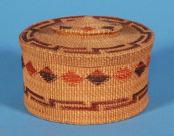 """2: Tlingit Lidded Spruce Root Basket 4 1/2"""" D. 2 1/2"""" H"""