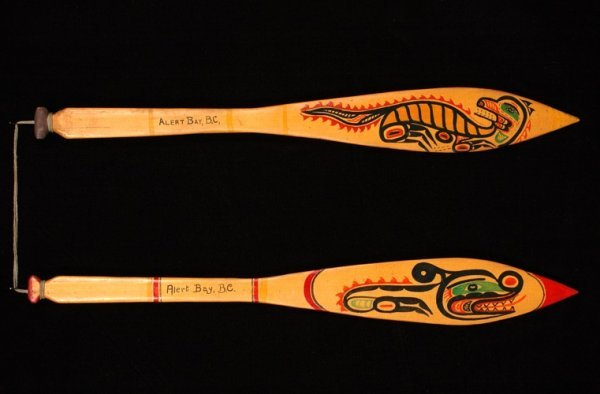 5: Two Alert Bay Paddles with Painted Design On Both Si