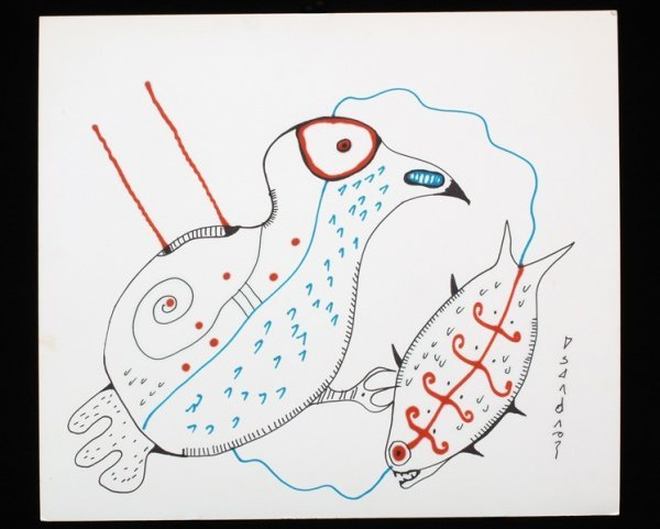 7: Norval Morrisseau Original Drawing of a Bird and Fis