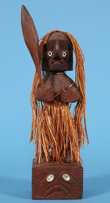 """10: Nuu-chah-nulth Carved Shaman Figure 14"""" H. (16"""" wit"""