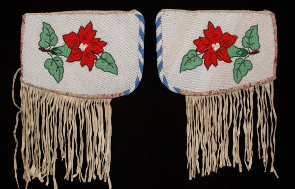 11: Pair of Plateau Fully Beaded Cuffs ca. 1920 on Canv