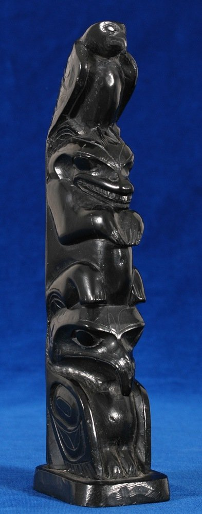 18: Rufus Moody Argillite Totem with Carved Eagle, Thun
