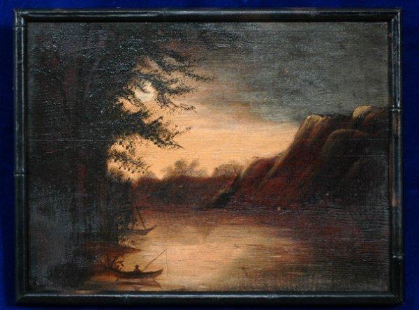 19: Oil On Board of a River Scene Fishing by Moonlight