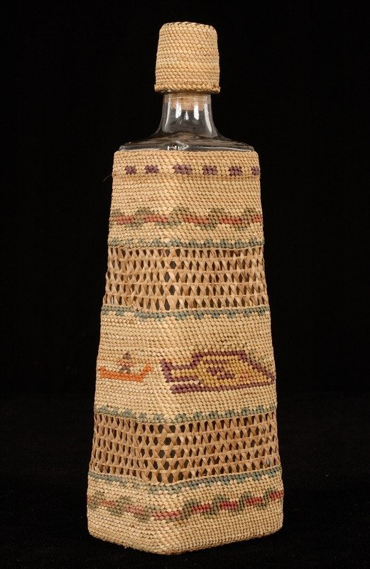 20: Nuu-chah-nulth Basketry Covered Bottle with Man in