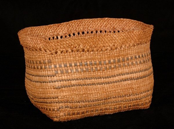 "21: Haida Ovoid Shaped Basket 12"" L. 7 1/2"" H. 7"" W.  G"
