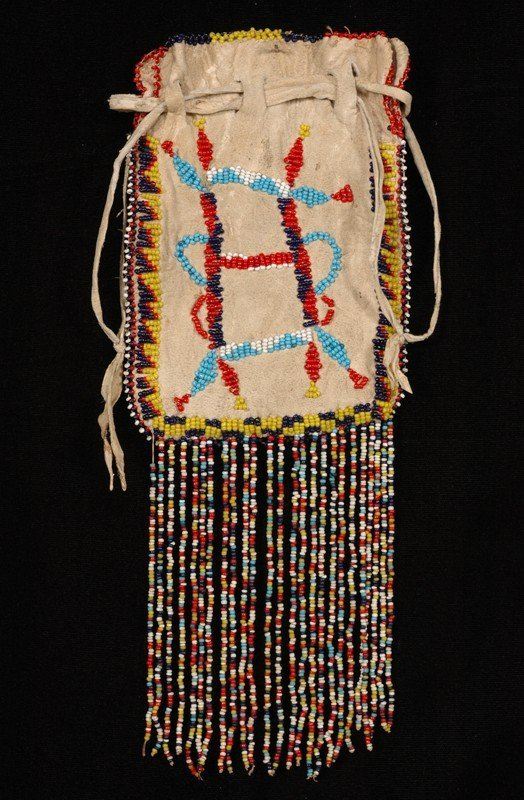 "22: Apache Beaded Medicine Bag ca. 1910  10"" L. 4 1/2"""