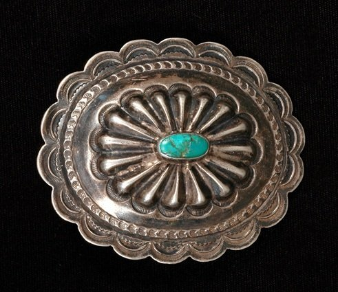 24: Navajo Hand Stamped Silver Belt Buckle Set with Nat