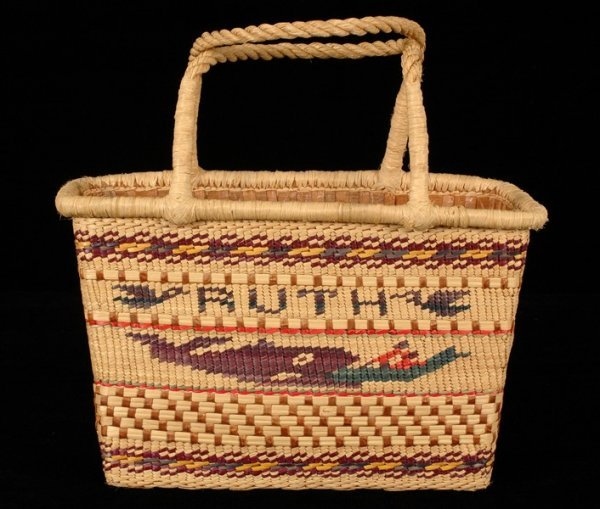"""1: Nuu-chah-nulth Carry Basket with Whaling Scene and """""""