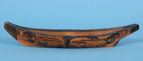 2: Haida Canoe with Painted Mother Wolf and Killer Whal