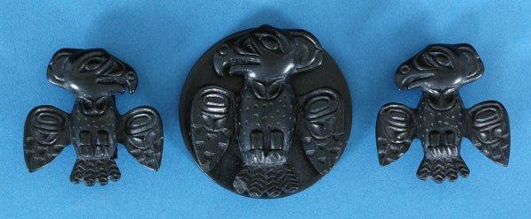 3: Haida Argillite Pendant and Earrings Set by T. Pears