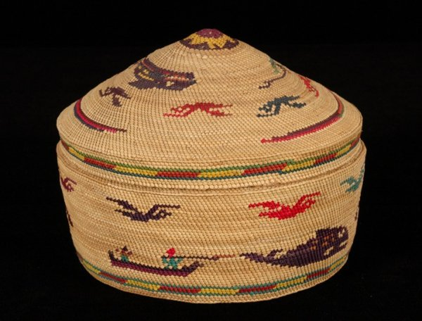 4: Nuu-chah-nulth Dome Top Basket Decorated with Whales