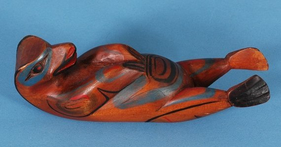 "6: Northwest Coast Cedar Otter Figure ca. 1920 5"" L. Go"