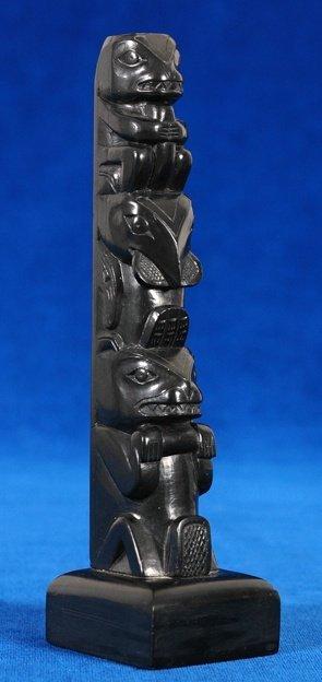 8: William Gladstone Argillite Three Figure Totem - Sig