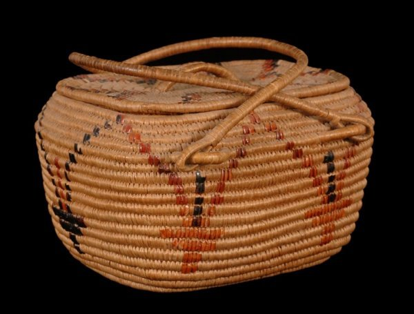 13: Salish Coiled Lidded Basket with Double Handles 8 1