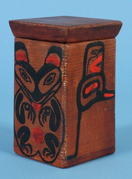 "15: Tsimshian Bent Wood Box with Painted Bear 5 1/2"" H."