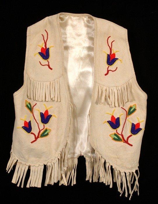 20: Child's Beaded Doeskin Vest with Floral Design