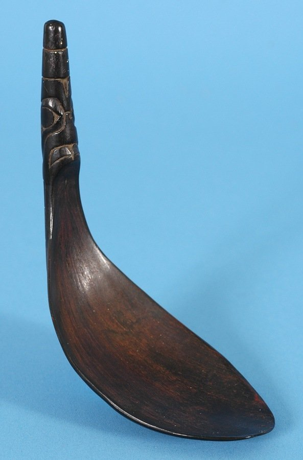 21: 19TH C. Tlingit Goat Horn Spoon with Carved Potlatc