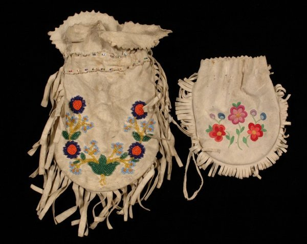 24: Beaded Doeskin Pouch with Floral Design on Both Sid
