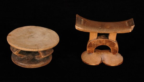 205: Two African Carved Headrests Collected in the 1920