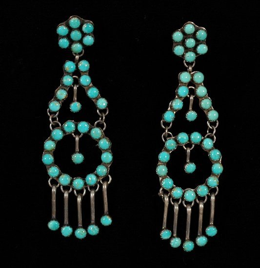 236: Pair of Navajo Silver and Turquoise Earrings Fine