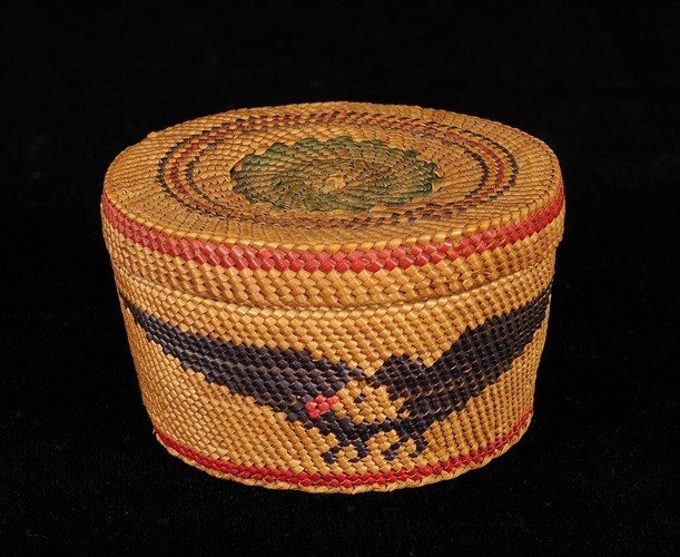 2: Nuu-chah-nulth Lidded Basket Finely Woven with Eagle