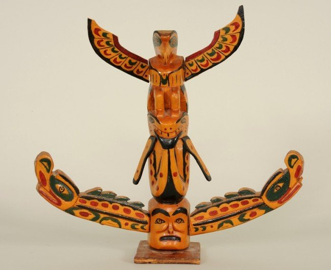 3: Northwest Coast Totem Carved with Eagle, Killer Whal