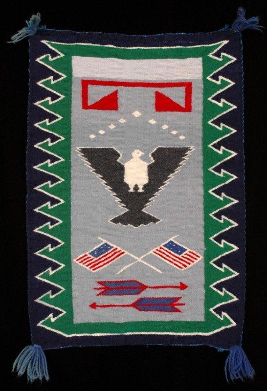 """4: Navajo Rug with American Symbols 20 1/2""""x 29"""" Collec"""