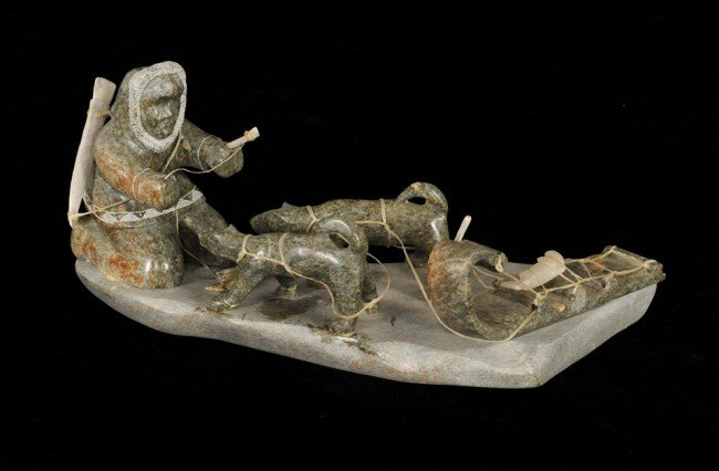 6: Sculpture of an Inuit Fisherman with Dog Sled Team S
