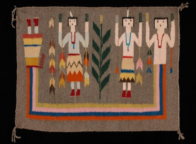 "8: Navajo Yei Figure Rug, Finely Woven 21""x 28"" Collect"
