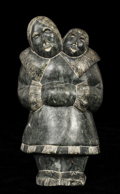"9: Inuit Sculpture of a Mother and Child by Tekak  6"" H"