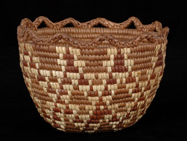 10: Finely Woven Miniature Burden Basket with Imbricate