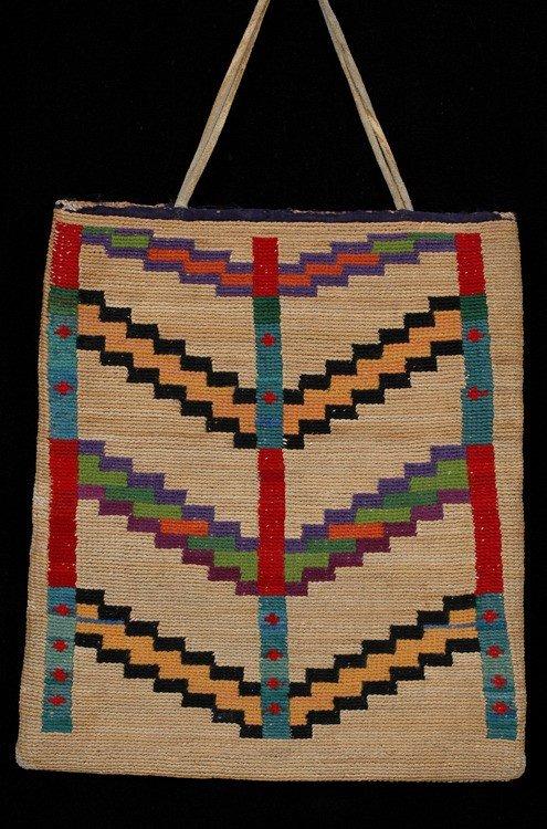 11: Nez Perce Corn Husk Bag ca. 1910, Geometric Design