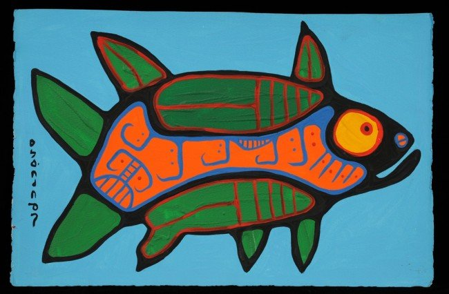 12: Norval Morrisseau Original Painting of a Fish on Pa
