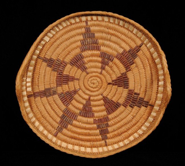 "16: Salish Handled Basketry Tray with Star Design 15"" D"