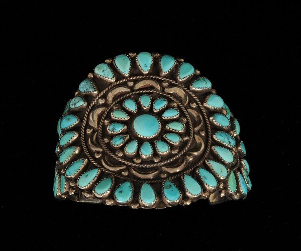 17: Navajo Silver and Turquoise Cluster Bracelet ca. 19